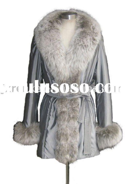 Luxury long coats for women with fox fur, cotton coat