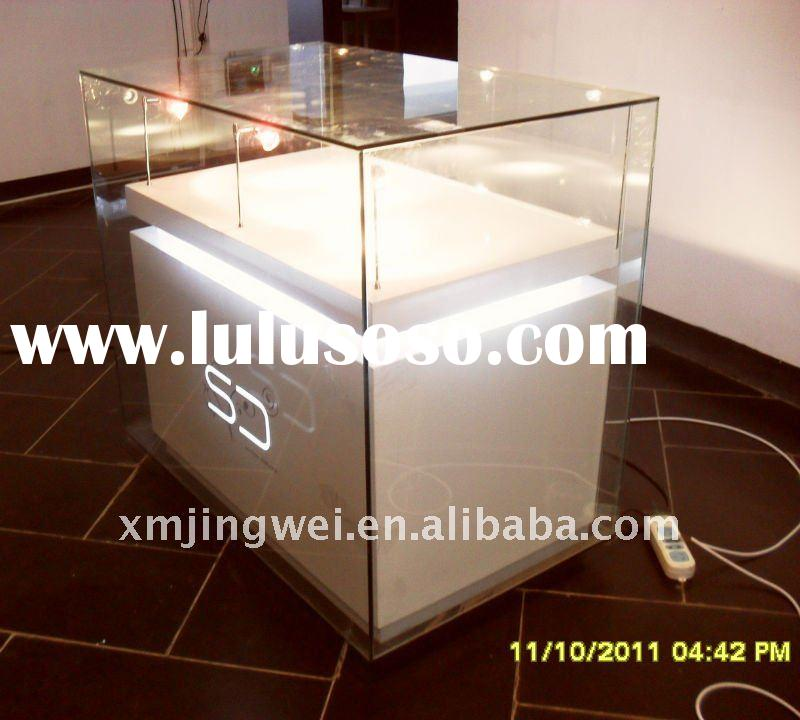 Modern wood jewelry display counter stand showcases with led light