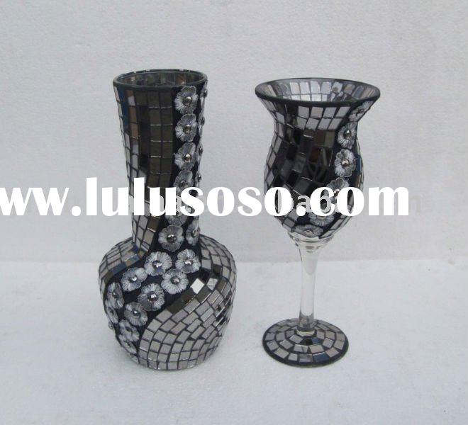 Mosaic Glass Vase, Candle Holder, Craft Set