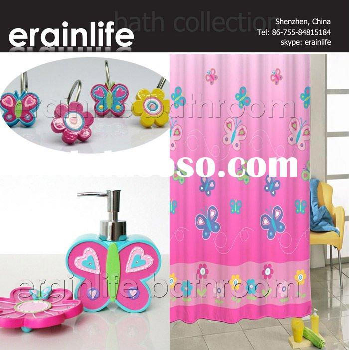 Pink Butterfly Polyester shower curtains