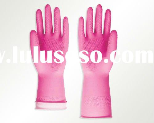 Pink Household Gloves Household Latex Gloves Household Rubber Gloves with Flock Lining