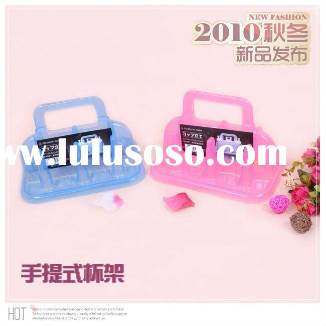 Plastic cup holder / tray 6 portable cup holder cup pink / blue