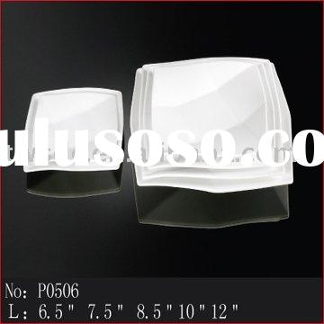 Pure white square porcelain plate, ceramic dinnerware