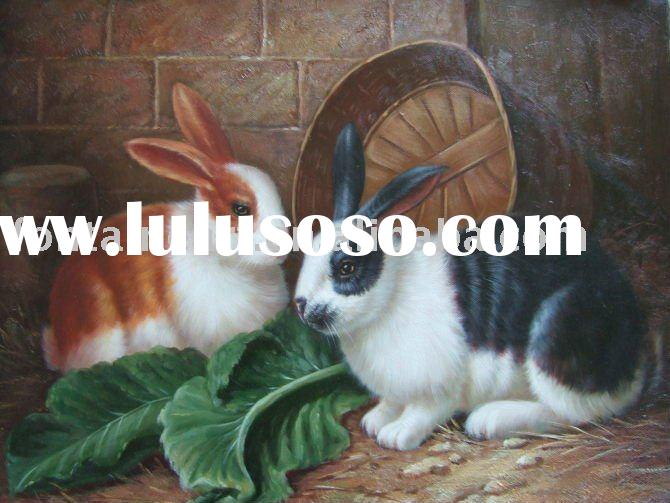 Rabbit Oil Painting On Canvas, home decoration