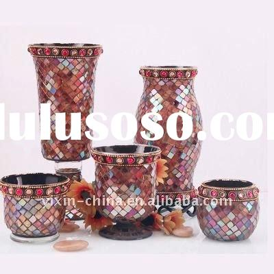 Red & Brown & Pink Mosaic Glass Vases With Candle Holder Set For Home Decoration