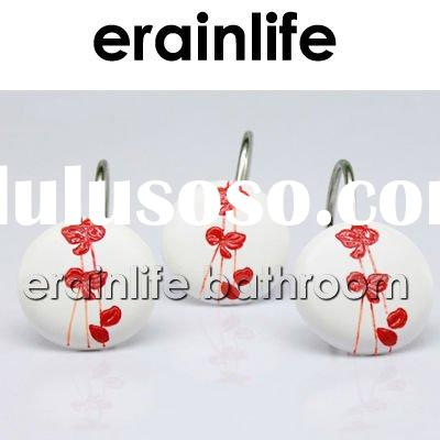 Red Plum Polyresin Shower Curtain Hooks