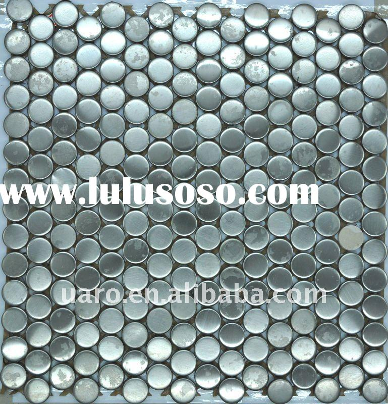 Round shape plate brushed stainless steel metal mosaic