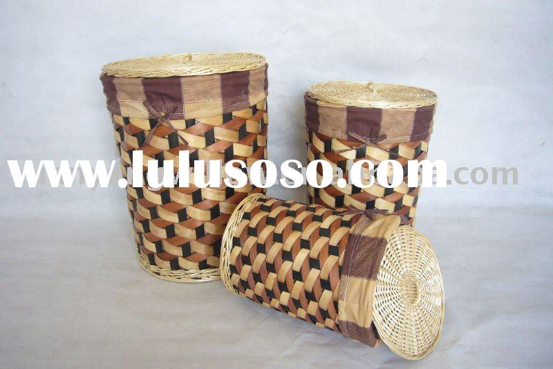 Round wood laundry basket