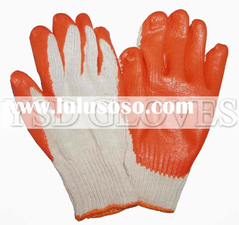 Rubber coated gloves with cotton seamless knitting