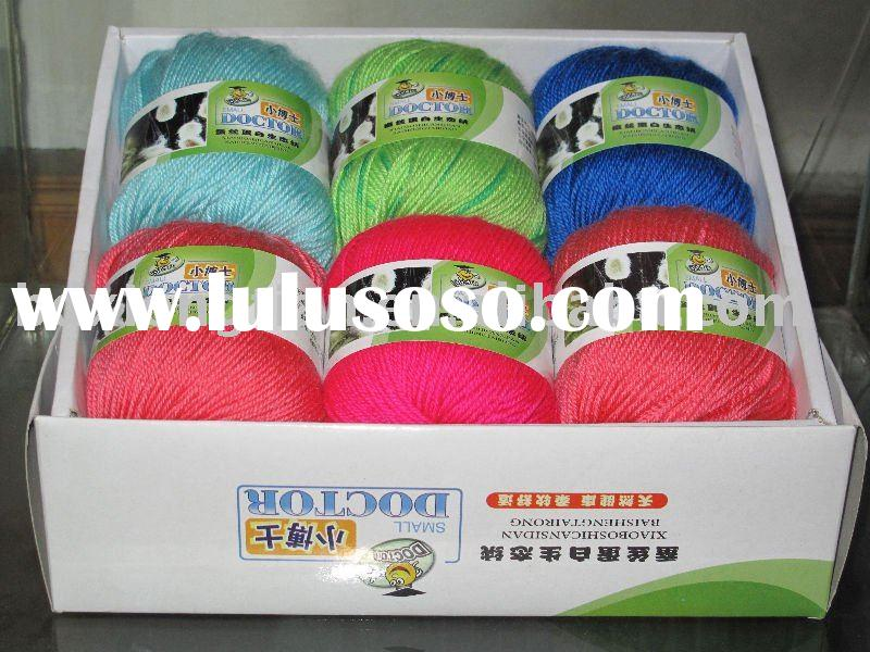 Silk like wool acrylic blended hand knitting yarn