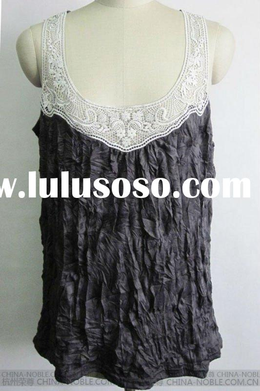Sleeveless Cotton Lace Tops with Ruffled Cloth(RZ-Q-34)