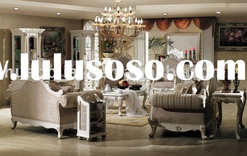 Sofa set(Malaysia rubber wood MDF upholstery fabric white paint HB-W941#)