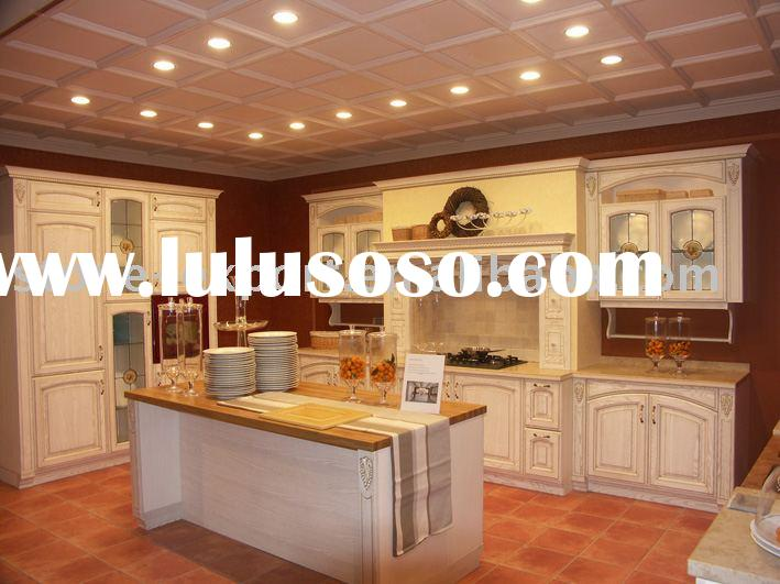 Solid Oak Wood Kitchen Cabinets with Granite Countertop and Stainless Steel Sink