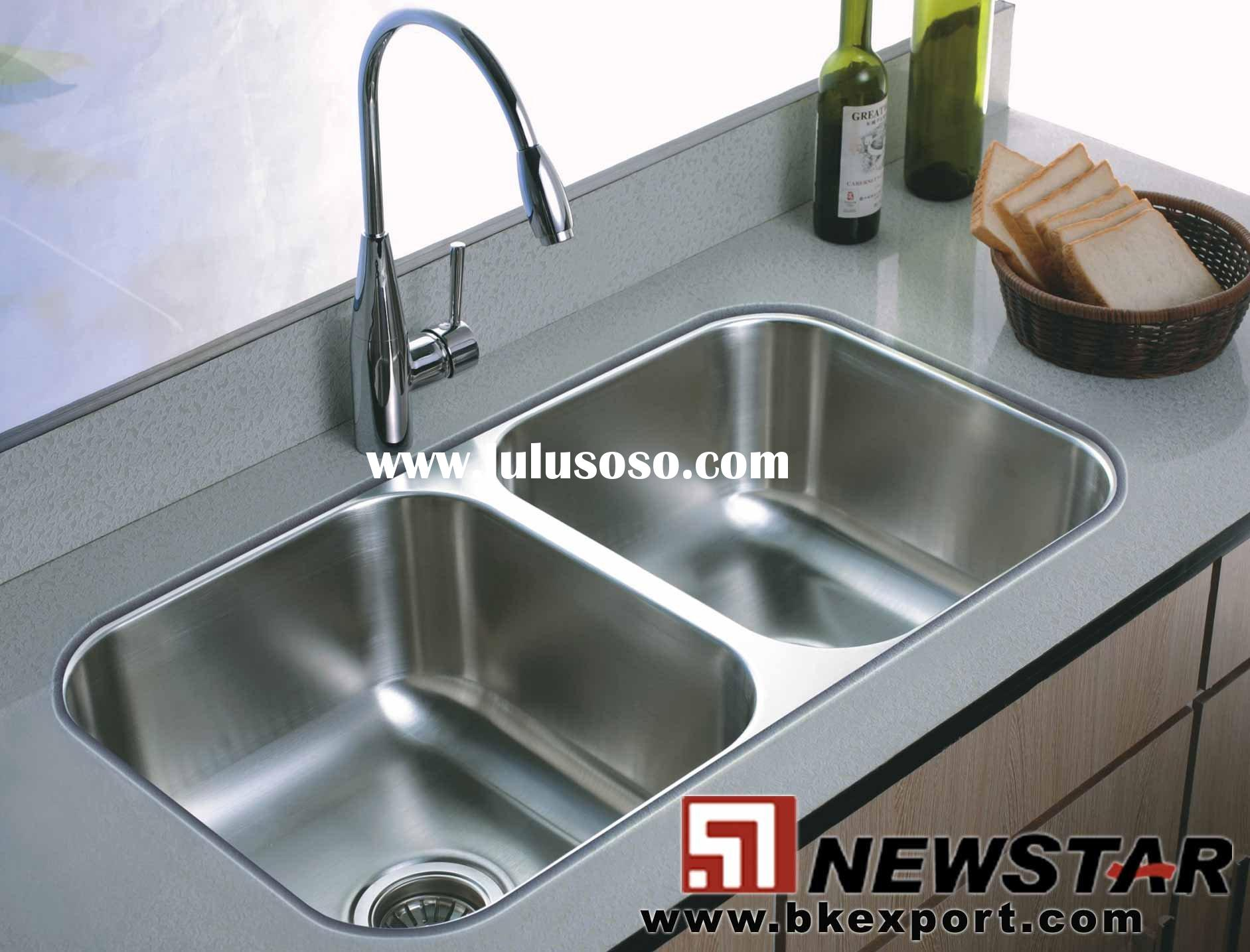 Stainless Steel Sinks With Faucets ( Undermount Double Bowl Sink )