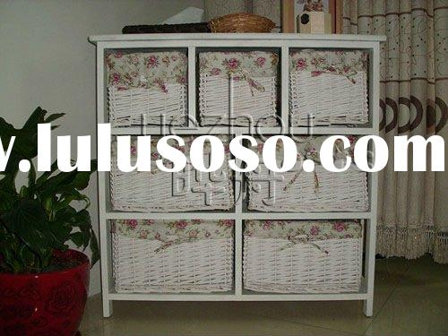 Stylish wooden living room cabinet with seven wicker drawers