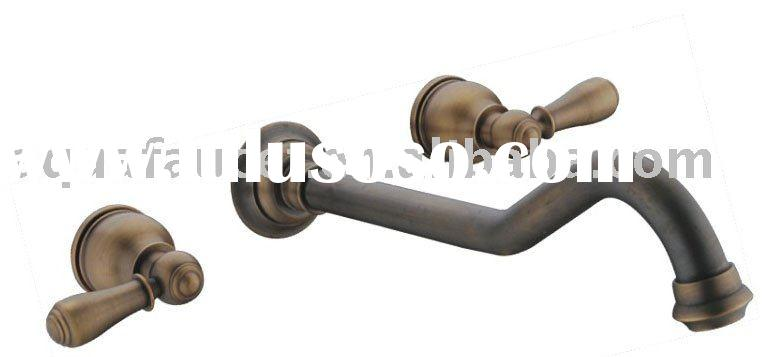 Two cross handle antique bronze brass widespread bathroom vessel sink faucet