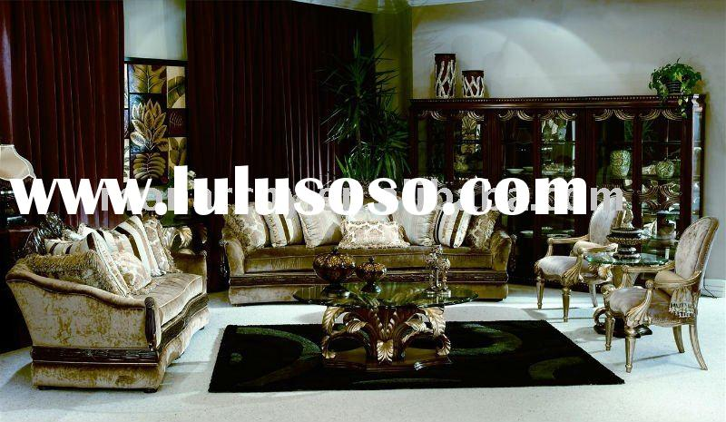 V098 classic wood carving living room furniture- sofa sets
