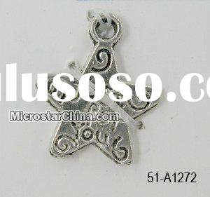 Zinc alloy jewelry,Antique silver,message star