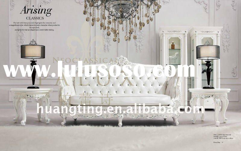 antique neoclassical sofa set furniture/genuine leather royal living room furniture