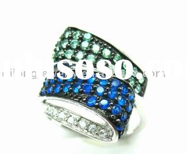 blue 925 silver gold ring jewelry with zircon diamond