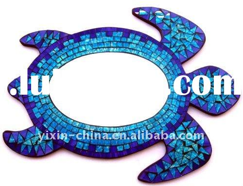 blue new sea turtle frame glass mosaic mirror