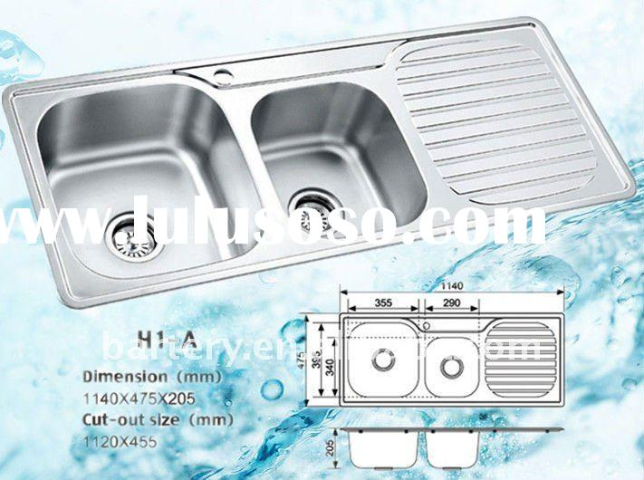 double bowl stainless steel top mount kitchen sink with drainboard