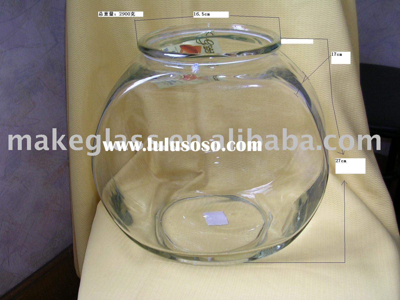 drum shaped glass fish bowl
