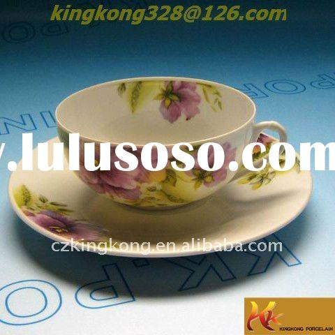 eggshell china tea cup and saucer set with decal