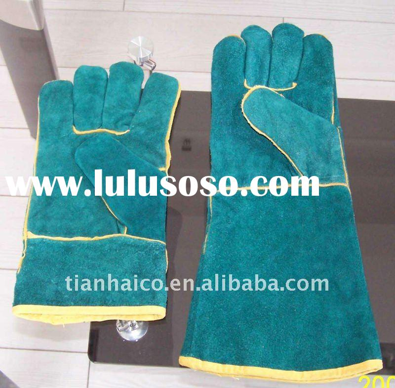 electrical welding hand gloves(cow split leather) long cuff workplace safety glove