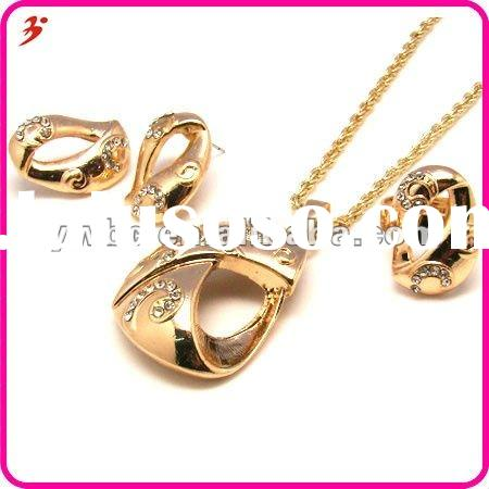 fashion 18k gold plated zinc alloy rhinestone necklace and earrings bridal jewelry set (T100122)
