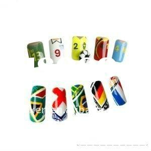 football fans nail art with the logo of different country