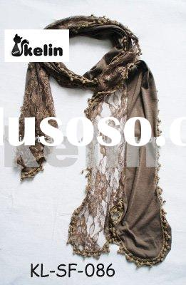 hot fashion polyester scarf with lace