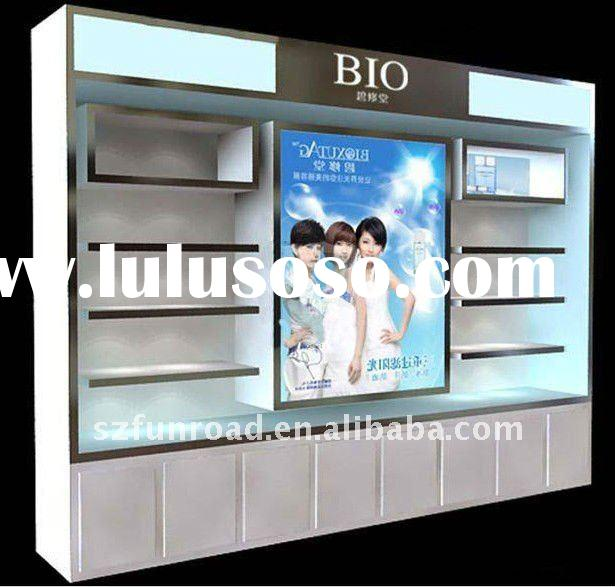 kiosk cosmetic display cabinet , wall shelf , retail shore use