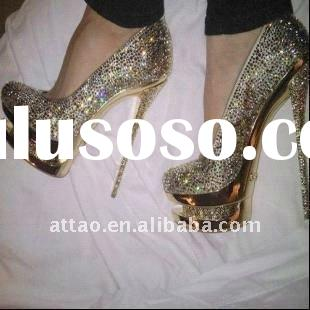 ladies high heel shoes / crystal high heel shoes fashion brand /double platform crystal shoes