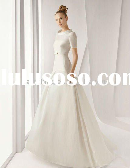 latest design satin short sleeves high neck 2011 bridal wedding dress bridal gown