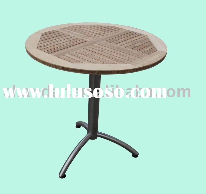 outdoor stainless steel frame teak wood dining table