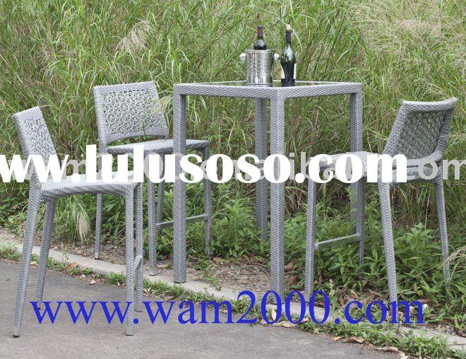 patio garden aluminum pe rattan bar table and bar chairs for outdoor