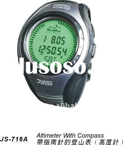 professional sports digital altimeter watch with compass
