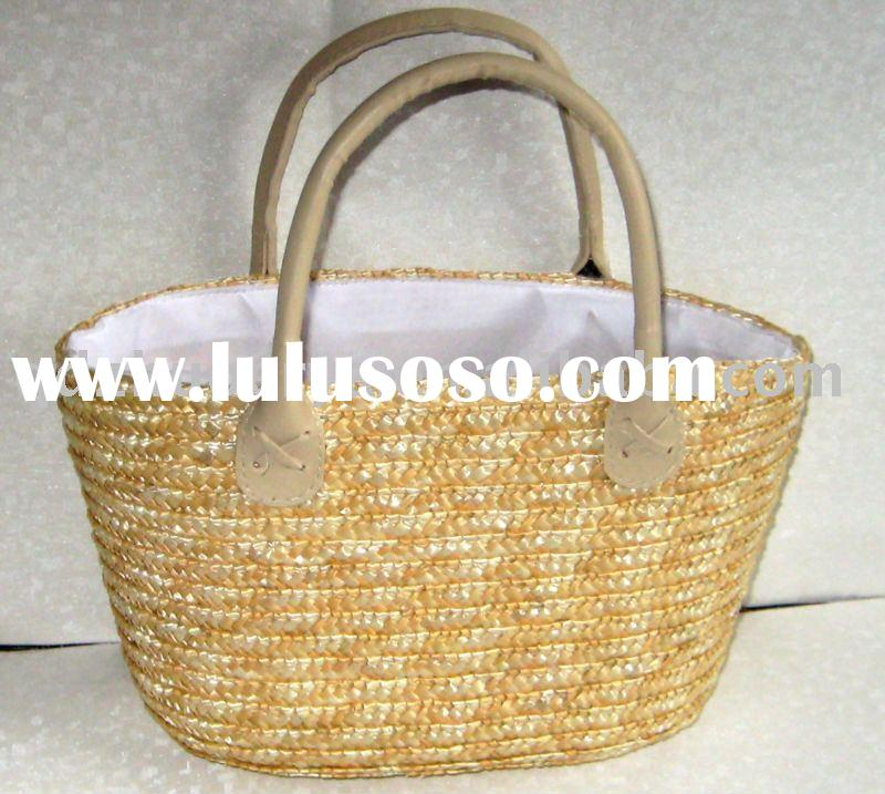 small natural colour wheat straw bag/basket+PU handle