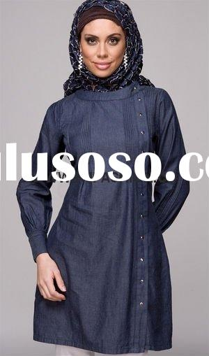 stylish blue thin jean tunic,long tunic, muslim tunic tops,long beauty tunic tops