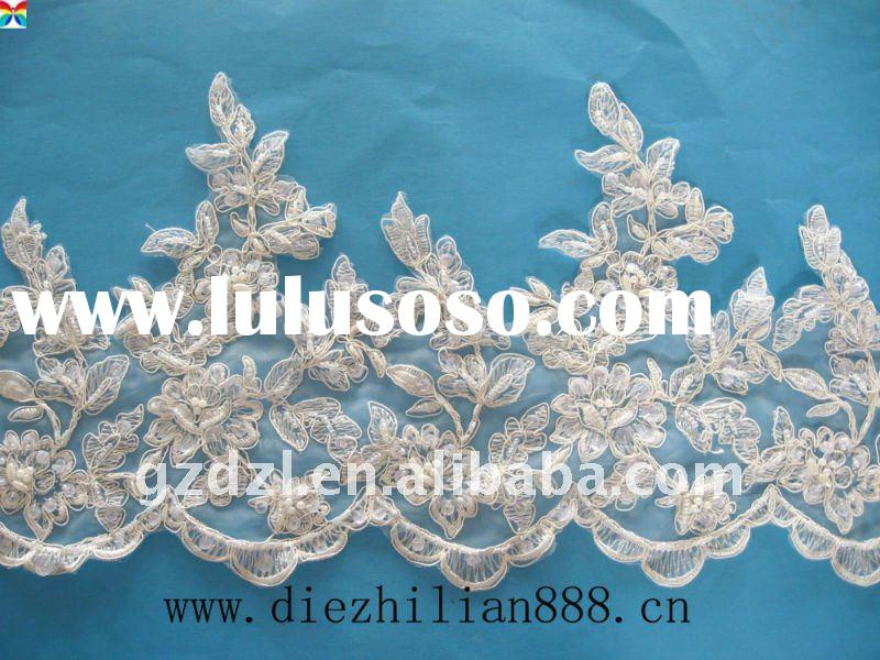wedding dress lace trim with beads