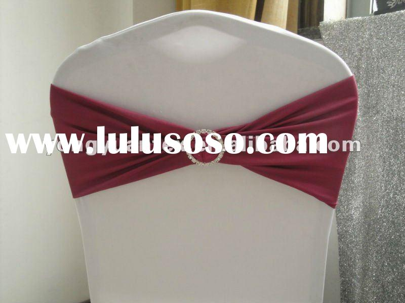 wedding purple-red spandex chair band with diamond buckle/spandex chair cover sash/lycra chair bow