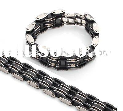 STAINLESS STEEL BRACELET-WHOLESALE BLACK MEN(S) AND WOMENS