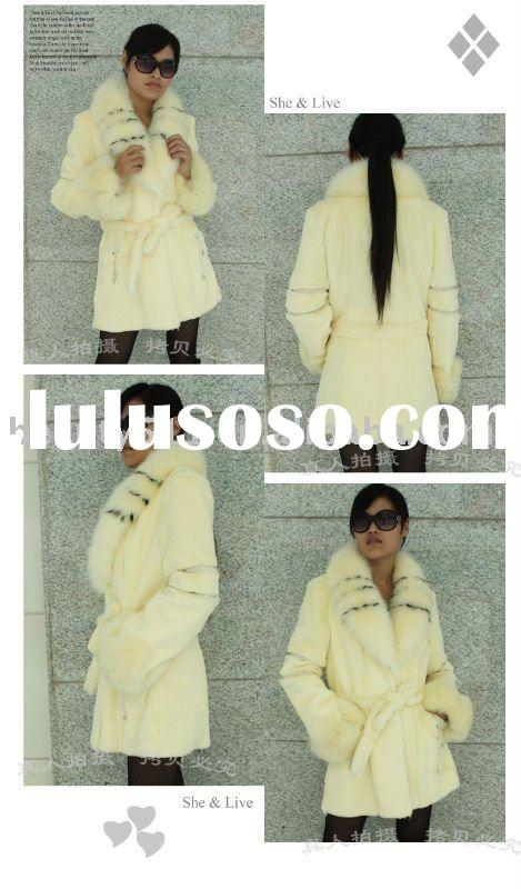 2010 Exquisite knitted rabbit hair with a fox fur collar ,long fur garment JL004