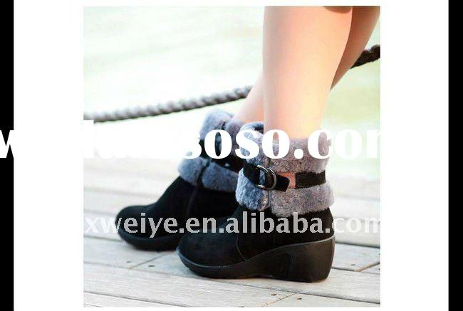2011Fashion Lady's Genuine Leather Boots Shoes With Rabbit Fur