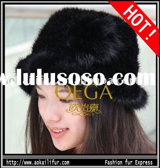 2011 FANSHION KNITTED MINK FUR HATS FUR CAPS