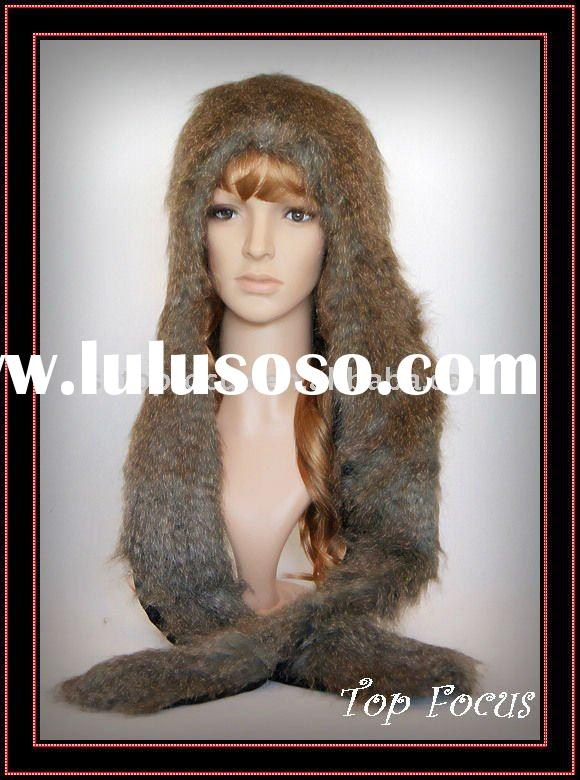 2011 NEW SPIRIT FAUX FUR PLUSH ANIMAL HEAD HAT/CAP WITH MITTENS GREY BUNNY