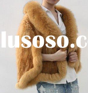 2011 new style short knitted mink fur coat with fox fur collar