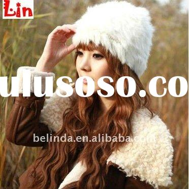 2012 Fashion lady winter white rabbit fur hat