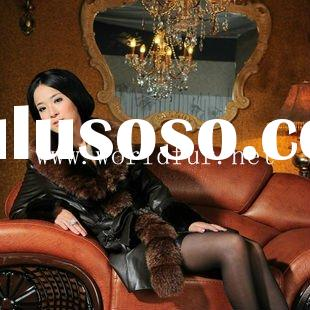 BY90039 Fashion Mink Fur Coat With Fox Collar For Women